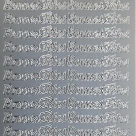 Sticker peel off adhésif argent écriture bonnes fêtes