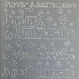 Sticker peel off adhésif argent écriture joyeux anniversaire