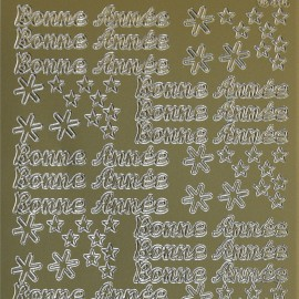 Sticker peel off adhésif or écriture bonne année