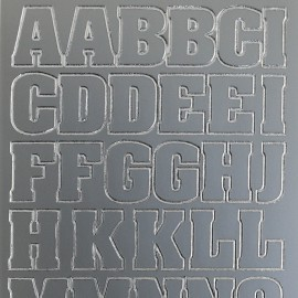 Sticker peel off adhésif argent alphabet grand