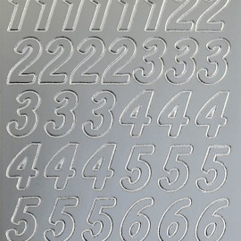 Sticker peel off adhésif argent chiffres grands
