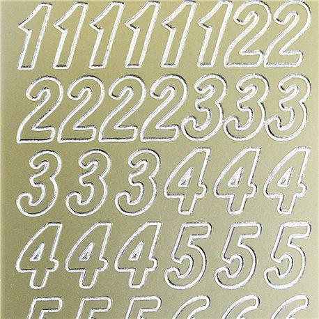 Sticker peel off adhésif or chiffres grand