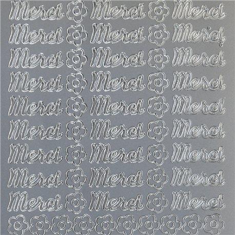 Sticker peel off adhésif argent écriture merci