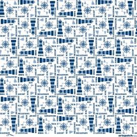 Papier Artepatch blanc motifs marins bleu