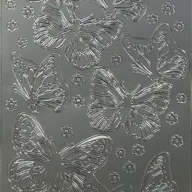 Sticker peel off adhésif argent papillons
