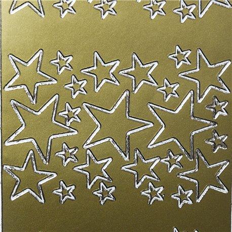 Sticker peel off adhésif or étoile