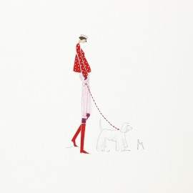 Aquarelle Brigitte Misériaux p'tite demoiselle et son chien