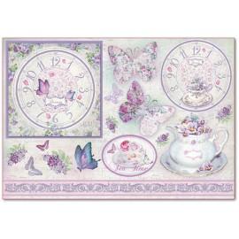 Papier de riz Stampéria shabby chic lilas papillons et horloge