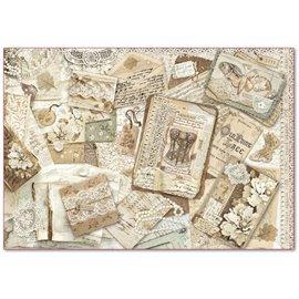 Papier de riz Stamperia old lace carte avec dentelle