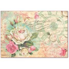 Papier de riz Stampéria shabby chic roses et horloge