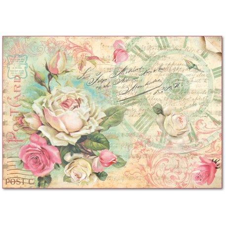papier de riz stamperia pour d coupage shabby chic roses. Black Bedroom Furniture Sets. Home Design Ideas