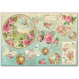 Papier de riz Stampéria shabby chic roses papillons et horloge