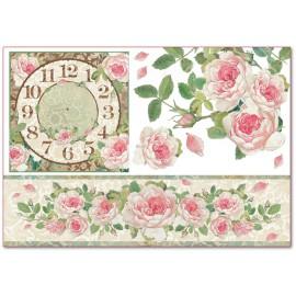 Papier de riz Stampéria shabby chic roses anciennes et horloge