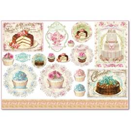 Papier de riz Stampéria shabby chic cupcakes et patisserie