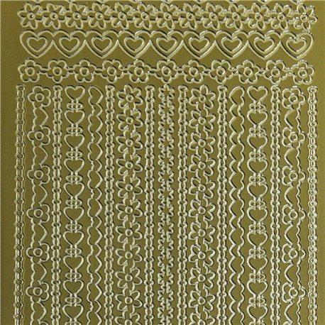 Sticker peel off adhésif or lignes déco fleur coeur chaine