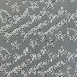 Sticker peel off adhésif argent écriture joyeux noel