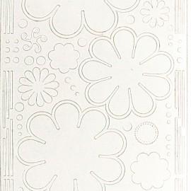 Sticker peel off adhésif blanc fleur