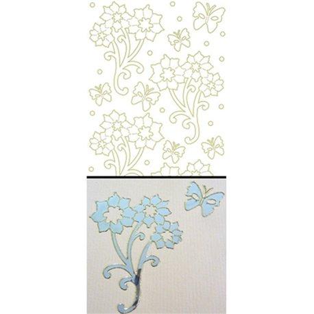 Sticker peel off adhésif effet miroir argent borduré doré fleur