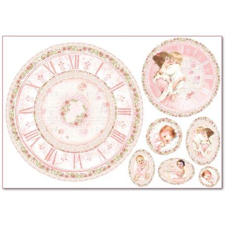 Papier de riz Stampéria naissance petite fille et horloge