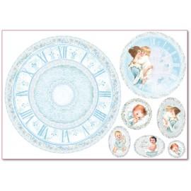 Papier de riz Stampéria naissance petit garçon et horloge