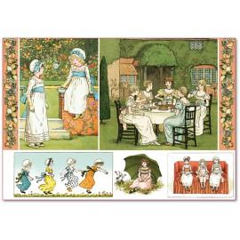 Papier de riz Stampéria vintage petites filles romantiques