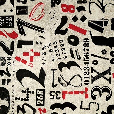 Papier tassotti motifs nombres noir et rouge