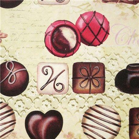 Papier tassotti motifs chocolats