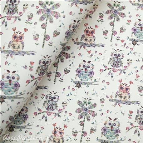 Papier tassotti motifs chouettes