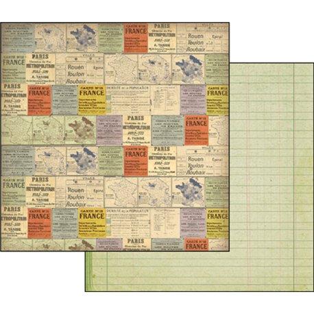 papier scrapbooking r versible vintage carte france. Black Bedroom Furniture Sets. Home Design Ideas