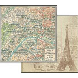 Papier scrapbooking réversible vintage plan de paris tour eiffel