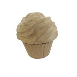Objet brut cup cake en papier maché marron
