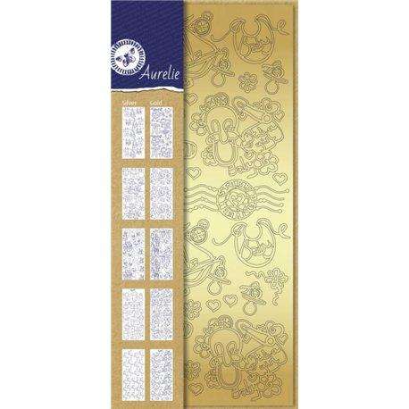 Sticker peel off adhésif naissance or et argent 10p