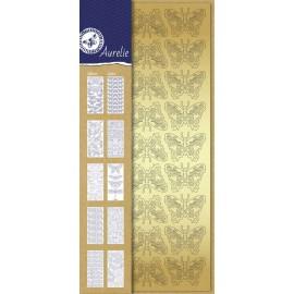 Sticker peel off adhésif papillons or et argent 10p