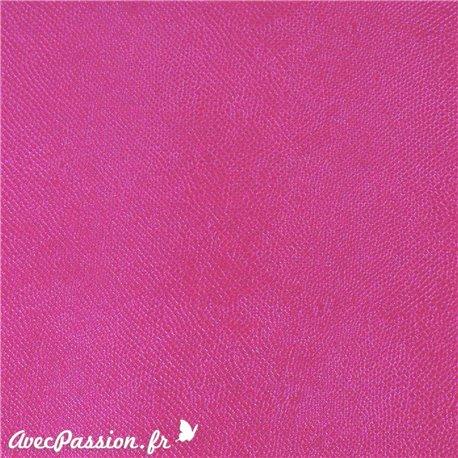 Papier simili cuir lézard métallique fushia