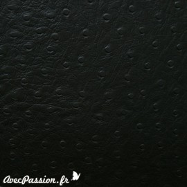 Papier simili cuir autruche noir en relief