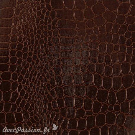 Papier Skivertex® Pellaq croco simili cuir marron 68x100cm