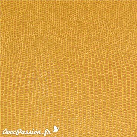 papier-skivertex-cuir-lezard-jaune-papier-cartonnage-meuble-carton