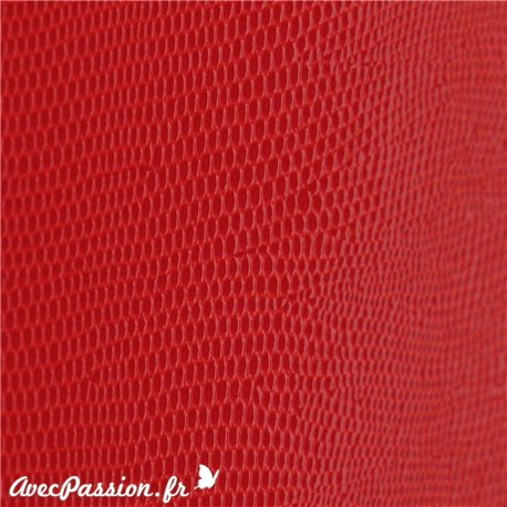 papier-skivertex-cuir-lezard-rouge-vif-cartonnage-meuble-carton