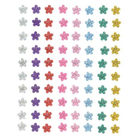 Strass fleurs adhésifs multicolores qu80 6mm