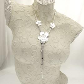 collier fantaisie argent 3 fleurs créateur Il était une fois