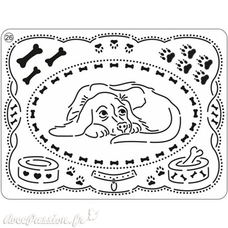 Pergamano mini grille embossage ciselage 26 chiens 71026