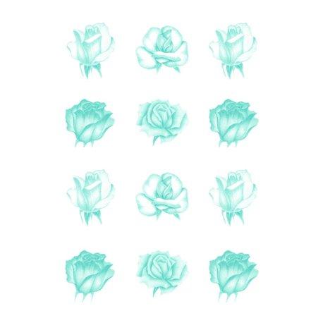 Pergamano paquet papier parchemin vellum roses bleue 62551 5 feuilles // Ce produit n'est plus fabriqué