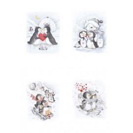 Pergamano paquet papier parchemin vellum pingouins 62583 5 feuilles