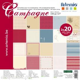Papier scrapbooking assortiment campagne 2x20fe