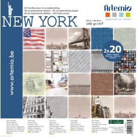 Papier scrapbooking assortiment new york 2x20fe