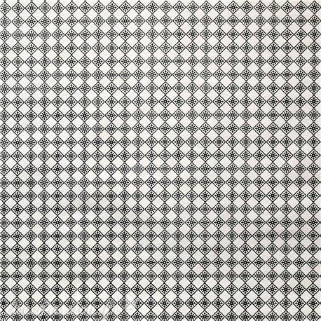Papier fantaisie azulejos blanc et noir