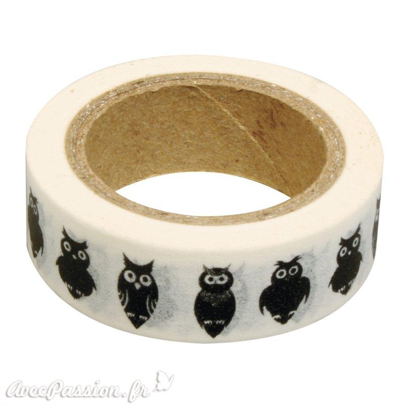 masking tape hibou ruban papier adh sif washi pas cher. Black Bedroom Furniture Sets. Home Design Ideas