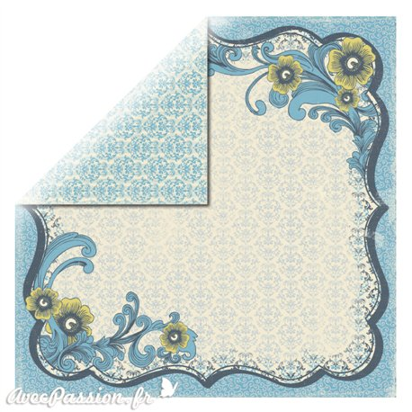 Papier scrapbooking réversible arabesques bleu 30x30
