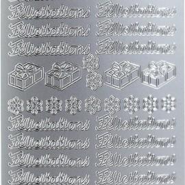 Sticker peel off adhésif argent écriture félicitations