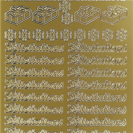 Sticker peel off adhésif or écriture félicitations